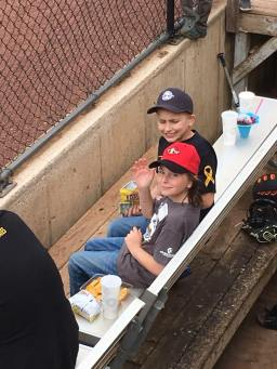 Chase and Tyler chilling in the dugout