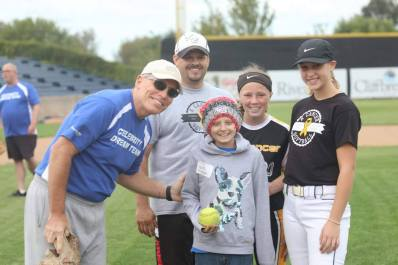 Keira Chad Senator Syverson and girls first pitch - Copy
