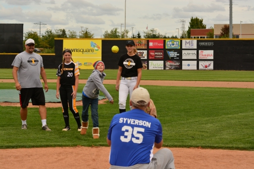 Syverson catching first pitch from Keira
